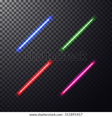 Realistic bright colorful laser beam. Light swords on isolated transparent black background. Weapon futuristic from star war. Vector illustration, design elements for your projects - stock vector