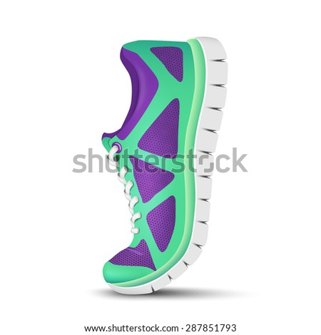 Realistic bright curved sport shoes for running. Vector illustration - stock vector