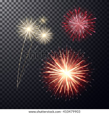 Realistic bright festive firework, big sparkling salute and flashes on transparent backdrop. Design elements, decorative effects for your projects, greeting cards, poster. Abstract vector illustration - stock vector