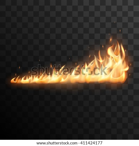 Realistic burning fire flames vector effect with transparency for design. Trail of fire.  - stock vector