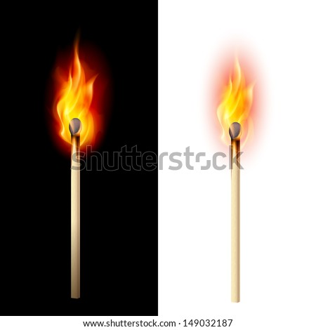 Realistic burning match. Illustration on white and black - stock vector