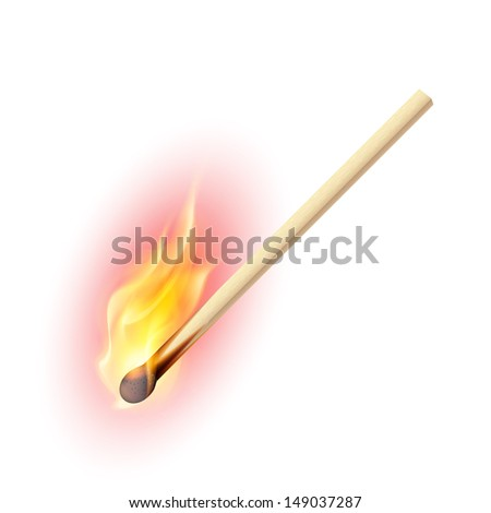 Realistic burning match. Illustration on white background - stock vector