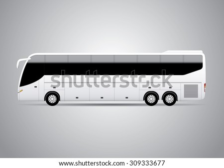 Realistic bus vector illustration. Perfect for applying advertising and company graphics (branding). - stock vector