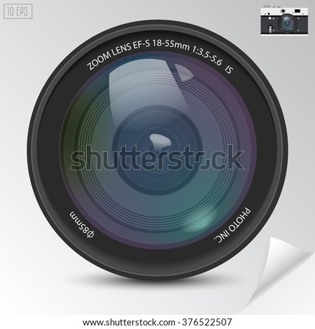 Realistic camera photo lens with shadows. - stock vector