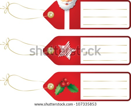 Realistic cartoon illustration of some Christmas gift tags featuring images of Santa Claus, a star, and a sprig of holly berries. Space is provided for your own text. - stock vector