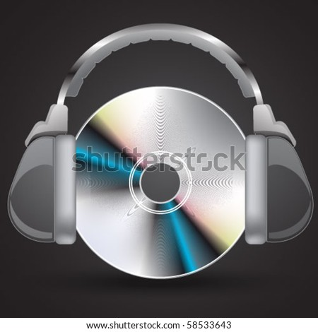 realistic CD - stock vector