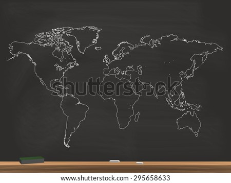 Realistic Chalkboard World Map Illustration - stock vector