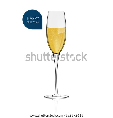 Realistic Champagne glass Vector for white background. Happy New Year! - stock vector