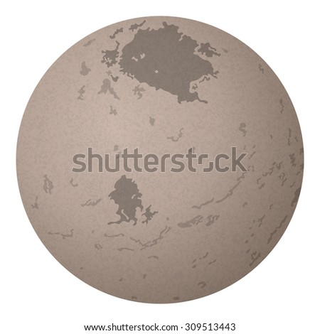 Realistic Charon, Moon of Dwarf Planet Pluto Isolated on White Background. Elements of This Image Furnished by NASA, Solarsystem.Nasa.Gov. Eps10, Contains Transparencies. Vector - stock vector