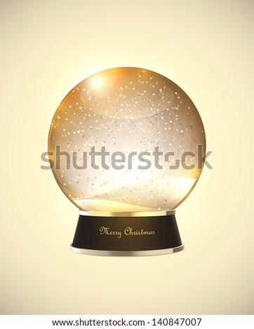 Realistic Christmas snow globe. EPS10 vector. - stock vector
