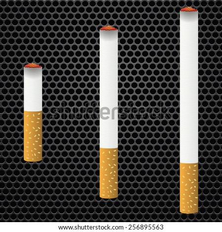 Realistic cigarettes  on bark metal perforated background. Cigarettes burns. - stock vector