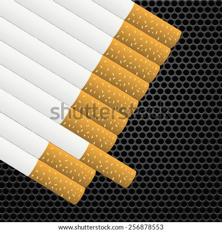 Realistic cigarettes  on dark metal perforated background. - stock vector