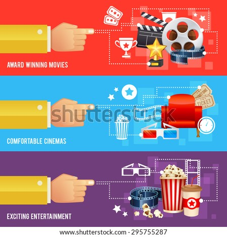 Realistic cinema movie poster template with film reel, clapper, popcorn, 3D glasses, concept banners  - stock vector