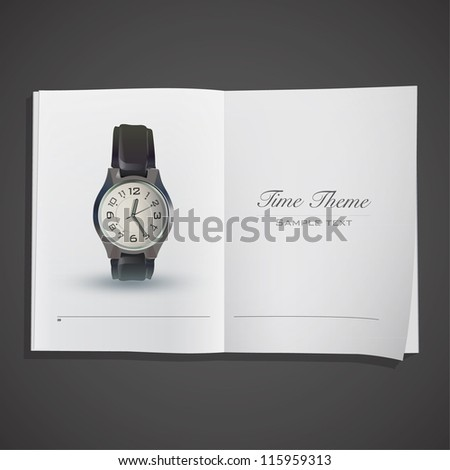 Realistic Clock inside a book. Vector design. - stock vector