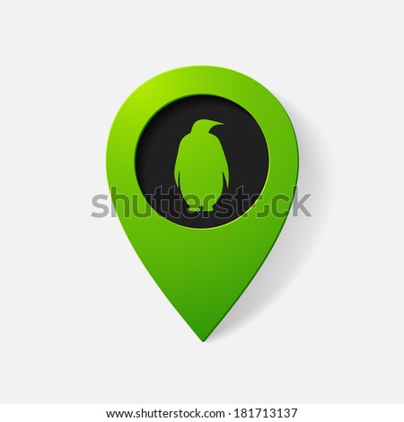 Realistic color pointer: penguin. Isolated illustration icon - stock vector