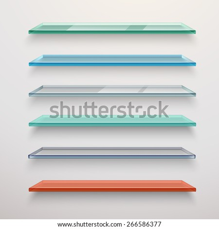 Realistic colored transparent glass wall shelves set isolated vector illustration - stock vector
