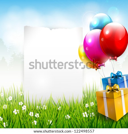 Realistic colorful birthday background with place for text - stock vector