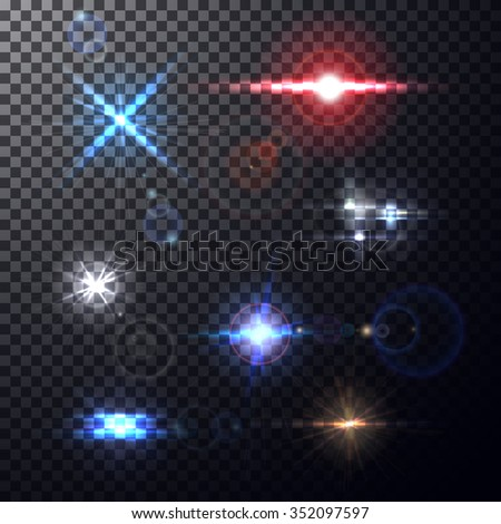Realistic colorful bright lens flares beams and flashes on transparent backdrop. Design elements, decorative effects for your projects on isolated background. Vector illustration - stock vector