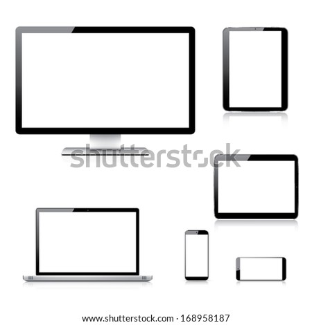Realistic computer, laptop, tablet and smartphone vectors isolated on white - stock vector