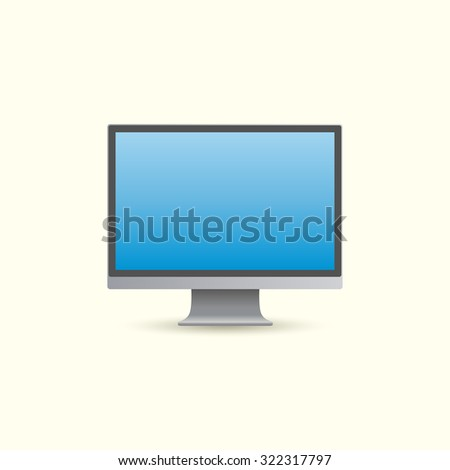 realistic computer monitor - stock vector