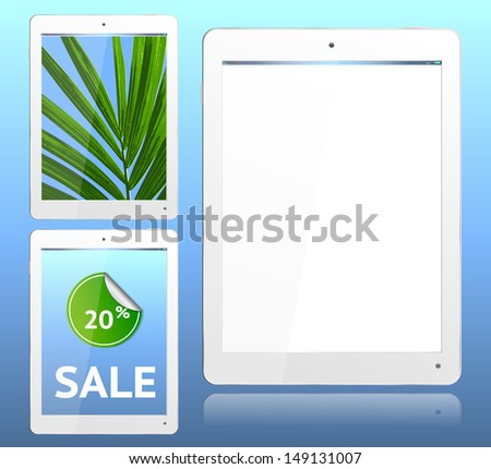 Realistic computer tablet in White ipade style  - vector layered grouped and with a separate layer to easily add your own screen image to each - stock vector