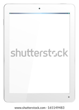 Realistic computer tablet in White - vector layered grouped and with a separate layer to easily add your own image to screen - stock vector