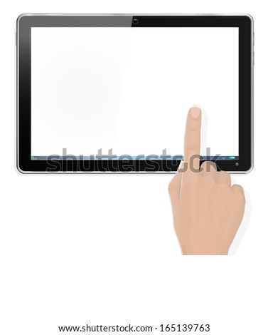Realistic Computer Tablet with Hand Pointing - with separate layer so you can easily add your own image to tablet screen  - stock vector