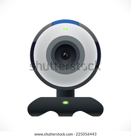 Realistic computer web cam. Vector Illustration. - stock vector