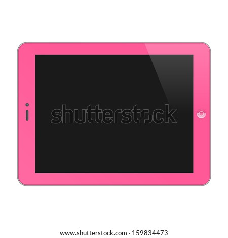 Realistic Concept Of Tablet PC With Blank Screen. Horizontal, Pink. Vector Illustration - stock vector