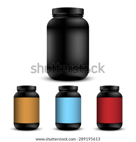 Realistic containers for sports nutrition. Vector set - stock vector