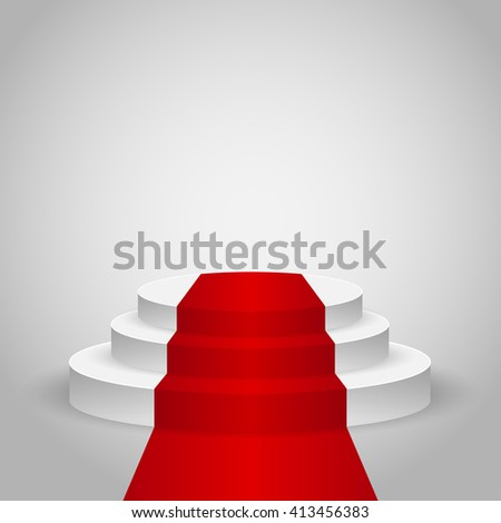 Realistic contest scene with the Red carpet, the Red carpet on empty white podium, place for product placement for presentation, winners podium or stage with the Red carpet, background, vector - stock vector