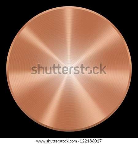 Realistic copper button. Vector eps10. Isolated - stock vector
