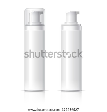 Realistic Cosmetic bottle can sprayer container. Dispenser for cream, soups, foams and other cosmetics With lid and without. Template For Mock up Your Design. vector illustration. - stock vector