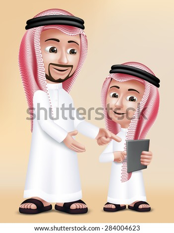 Realistic 3D Arab Teacher Man Character Teaching Boy Student in Mobile Tablet About School Wearing Thobe for Studies. Editable Vector Illustration - stock vector