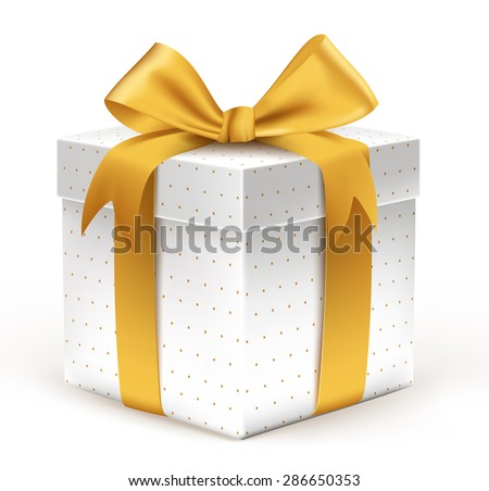 Realistic 3D Beautiful White Gift with Colorful Gold Ribbons Wrap with Dotted Pattern for Birthday or Christmas Celebration in White Background. Editable Vector Illustration. - stock vector