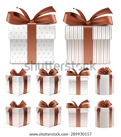 Realistic 3D Collection of Colorful Brown Pattern Gift Box with Ribbon and Bow for Birthday Celebration, Christmas, Party, Anniversary and Eid Mubarak. Set of Isolated Vector Illustration - stock vector