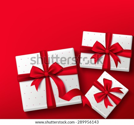 Realistic 3D Colorful Red Gift Box with Patterns and Silk Ribbon and Bow for Valentines Day, Birthday Celebration, Christmas, Party and Anniversary. Isolated Vector Illustration - stock vector