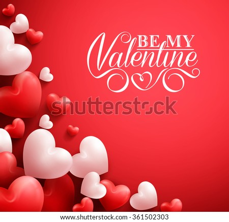 Realistic 3D Colorful Soft and Smooth Valentine Hearts in Red Background with Happy Valentines Day Greetings. Vector Illustration  - stock vector