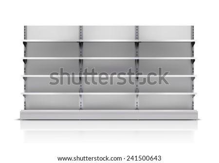 Realistic 3d empty supermarket shelf isolated on white background vector illustration - stock vector