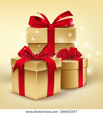Realistic 3D Golden Gifts with Colorful Red Ribbons Wrap with Dotted Pattern for Birthday or Christmas Celebration in White Background. Editable Vector Illustration. - stock vector