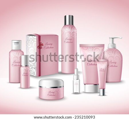 Realistic 3d Luxury Collection Cosmetics Face Beauty Care Products Packages Set Vector Illustration - stock vector