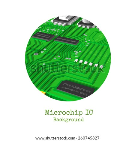 realistic 3d microchip round frame isolated on white - stock vector