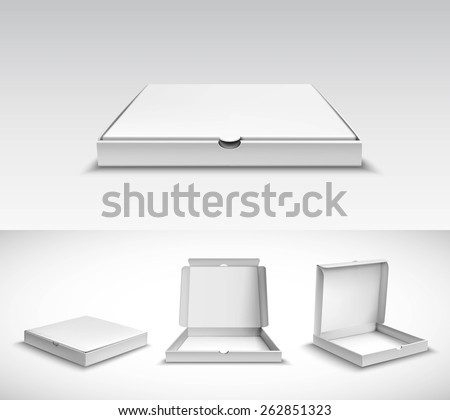 Realistic 3d pizza empty white cardboard box package set isolated vector illustration - stock vector