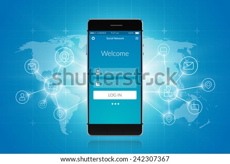 Realistic 3d smartphone with world map and communication symbols social network concept vector illustration - stock vector
