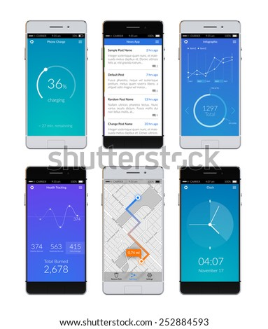 Realistic 3d smartphones set with ui apps on screen isolated vector illustration - stock vector
