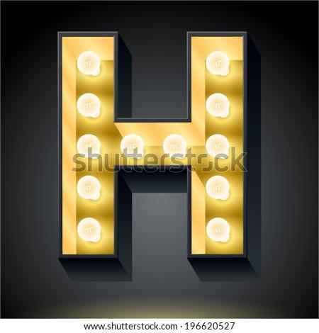 Realistic dark lamp alphabet for light board. Vector illustration of bulb lamp letter h - stock vector