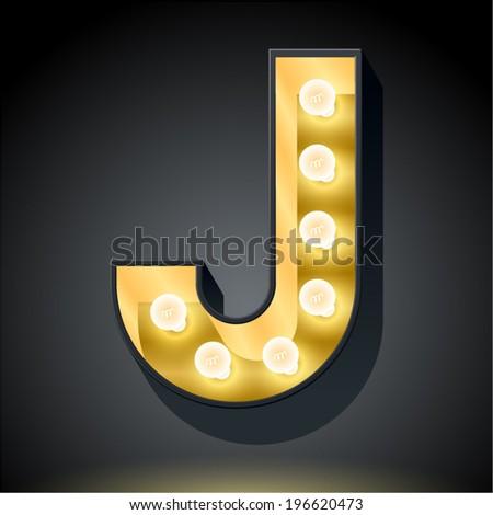 Realistic dark lamp alphabet for light board. Vector illustration of bulb lamp letter j - stock vector