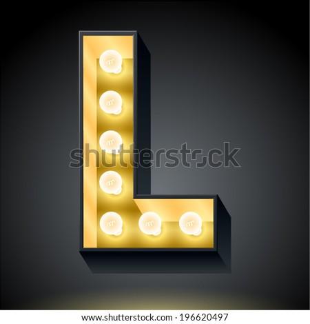 Realistic dark lamp alphabet for light board. Vector illustration of bulb lamp letter l - stock vector