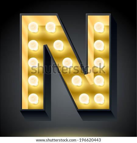 Realistic dark lamp alphabet for light board. Vector illustration of bulb lamp letter n - stock vector
