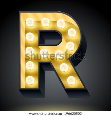 Realistic dark lamp alphabet for light board. Vector illustration of bulb lamp letter r - stock vector